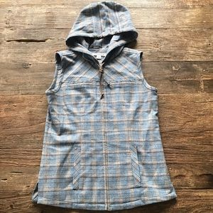 Pendleton Virgin Wool Plaid Blue Brown Hooded Vest